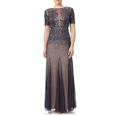 Vintage Inspired Bridesmaid Dresses, Mothers Dresses Adrianna Papell Fully Beaded Gown Gunmetal £259.00 AT vintagedancer.com