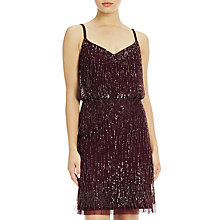Buy Adrianna Papell Spaghetti Strap Cocktail Dress With Fringe Detail, Cassis Online at johnlewis.com