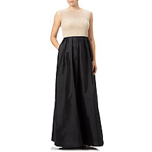 Buy Adrianna Papell Beaded Bodice With Taffeta Skirt, Black/Nude Online at johnlewis.com
