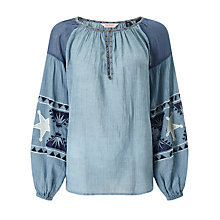 Buy Maison Scotch Sheer Embroidered Tunic Top, Indigo Online at johnlewis.com