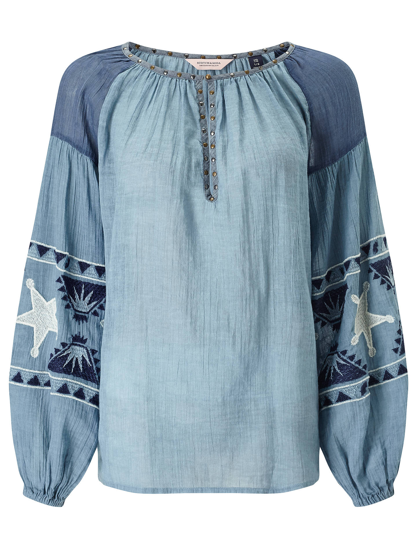 1b9db847d5c Buy Maison Scotch Sheer Embroidered Tunic Top, Indigo, S-M Online at  johnlewis.com ...