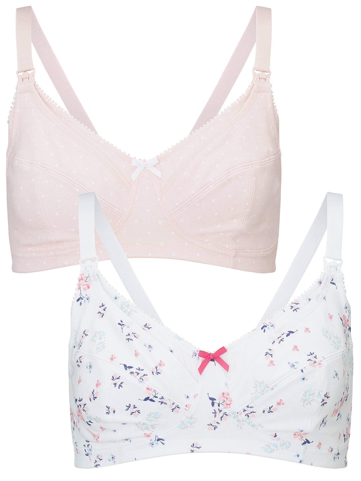 BuyJohn Lewis & Partners Printed Maternity Bra, Pack of 2, Sweet Pea/Spot Pink, 32C Online at johnlewis.com