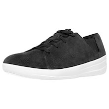 Buy FitFlop Fsporty Perforated Lace Up Trainers, Black Online at johnlewis.com