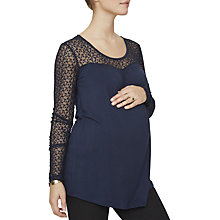 Buy Mamalicious Kimi Maternity Jersey Lace Top, Navy Online at johnlewis.com