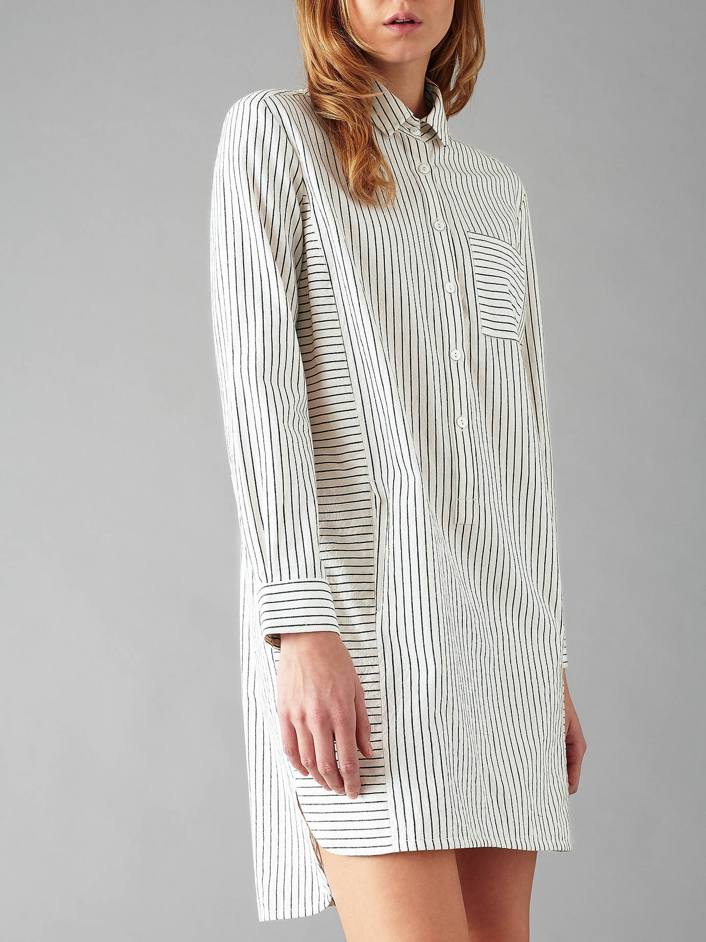 Buy People Tree Edith Stripe Shirt Dress, White, 8 Online at johnlewis.com