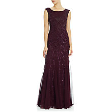 Buy Adrianna Papell Cap Sleeve Fully Beaded Gown, Cassis Online at johnlewis.com