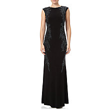 Buy Adrianna Papell Cap Sleeve Jersey Beaded Gown, Black Online at johnlewis.com