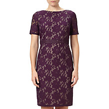 Buy Adrianna Papell Short Sleeve Lace Shift Dress, Plum Wine/Tan Online at johnlewis.com