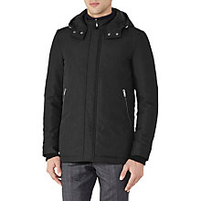 Buy Reiss Shires Hooded Coat, Black Online at johnlewis.com