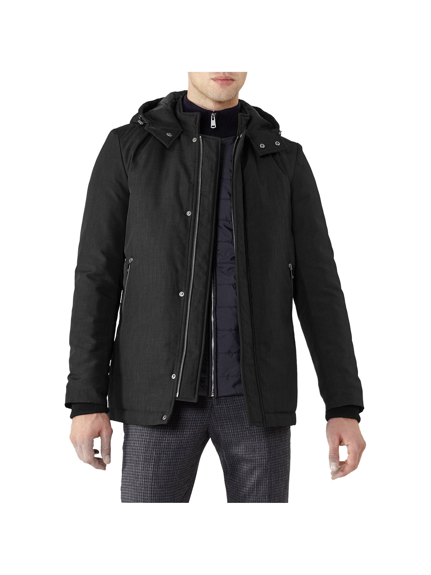 BuyReiss Shires Hooded Coat, Black, XS Online at johnlewis.com