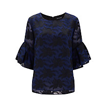 Buy Finery Arliss Burnout Frill Sleeve Top, Navy/Black Online at johnlewis.com