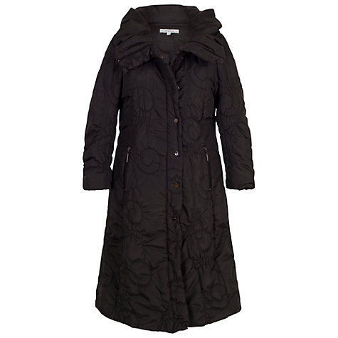 Buy Chesca Cartwheel Embroidered Long Quilted Coat, Black | John Lewis : long black quilted coat - Adamdwight.com