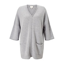 Buy East V Neck Tabbard Jumper, Grey Online at johnlewis.com