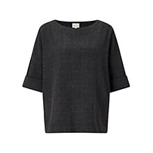 Buy East Wool Blend Check Top, Charcoal Online at johnlewis.com