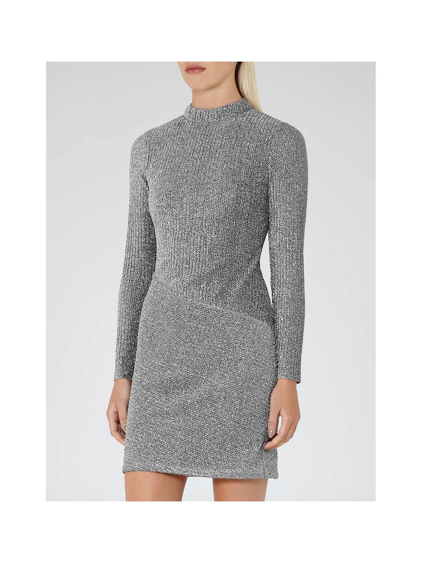 3b51edd42480 ... Buy Reiss Candy Metallic Bodycon Dress, Silver, 6 Online at  johnlewis.com ...