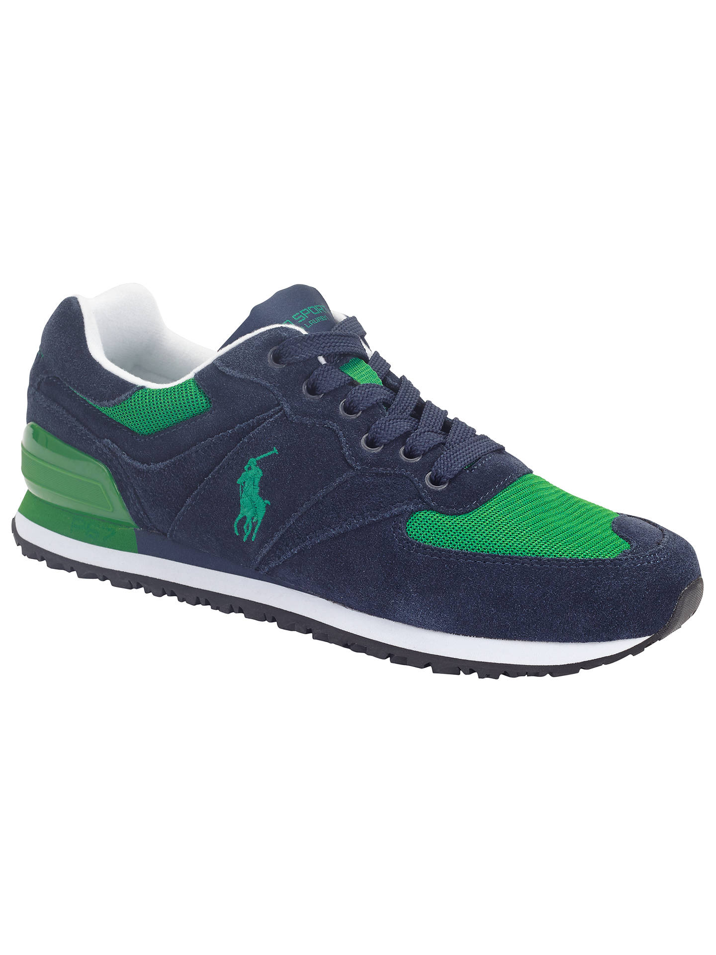 new list retail prices really comfortable Polo Ralph Lauren Slaton Trainers, Navy/Green at John Lewis & Partners