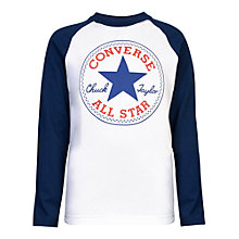 Buy Converse Boys' Chuck Patch Long Sleeve T-Shirt, White Online at johnlewis.com