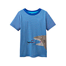 Buy Little Joule Boys' Archie Shark and Diver Applique T-Shirt, Blue Online at johnlewis.com
