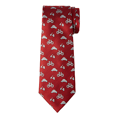 John Lewis Boys' Transport Print Tie, Red/White