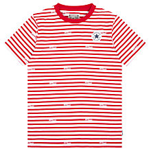 Buy Converse Boys' Logo Stripe T-Shirt, Red Online at johnlewis.com
