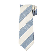 Buy John Lewis Boys' Linen Cotton Stripe Tie, Blue/White Online at johnlewis.com