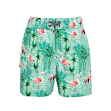 Buy John Lewis Boys' Flamingo Print Swim Shorts, Green Online at johnlewis.com