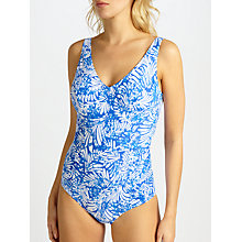Buy John Lewis Batik Fern Side Ruched Control Swimsuit, Blue Online at johnlewis.com