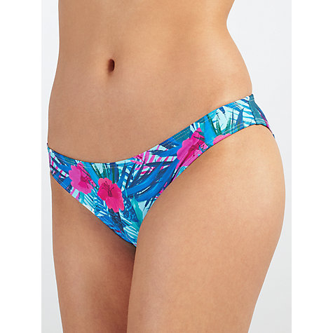 Buy John Lewis Lush Tropical Side Ruched Bikini Briefs, Blue/Multi Online at johnlewis.com