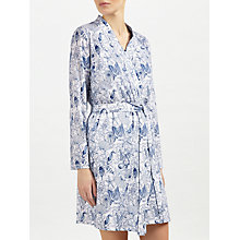 Buy John Lewis Shelley Print Jersey Dressing Gown, White/Blue Online at johnlewis.com