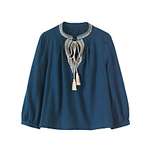 Buy Toast Cotton Khadi Embroidered Top, Dark Blue Online at johnlewis.com