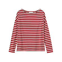 Buy Toast Stripe Breton T-Shirt, Red Melange/White Pebble Online at johnlewis.com