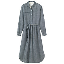 Buy Toast Stripe Linen Shirt Dress, Indigo/Off White Online at johnlewis.com