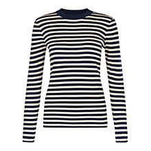 Buy Hobbs Tara Stripe Jumper, Gold/Navy Online at johnlewis.com