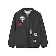 Buy Mango Kids Girls' Bimba Patched Bomber Jacket, Black Online at johnlewis.com