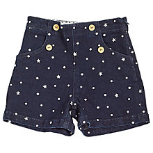 Buy Angel & Rocket Girls' Fleur Embroidered High Waist Shorts, Denim Online at johnlewis.com