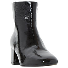 Buy Dune Packham Block Heeled Ankle Boots, Black Patent Online at johnlewis.com