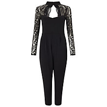 Buy Miss Selfridge Petite Choker Lace Jumpsuit, Black Online at johnlewis.com