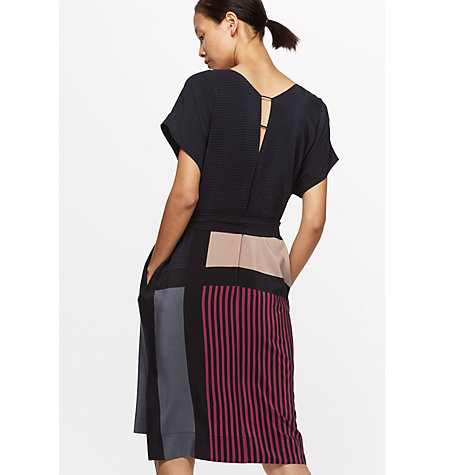 Buy Jigsaw Block Stripe Dress, Midnight Grey Online at johnlewis.com