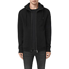 Buy AllSaints Lutra Cotton Hoodie, Jet Black Online at johnlewis.com
