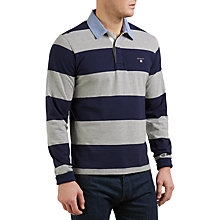 Buy Gant Original Bar-Striped Rugby Shirt, Light Grey Melange Online at johnlewis.com