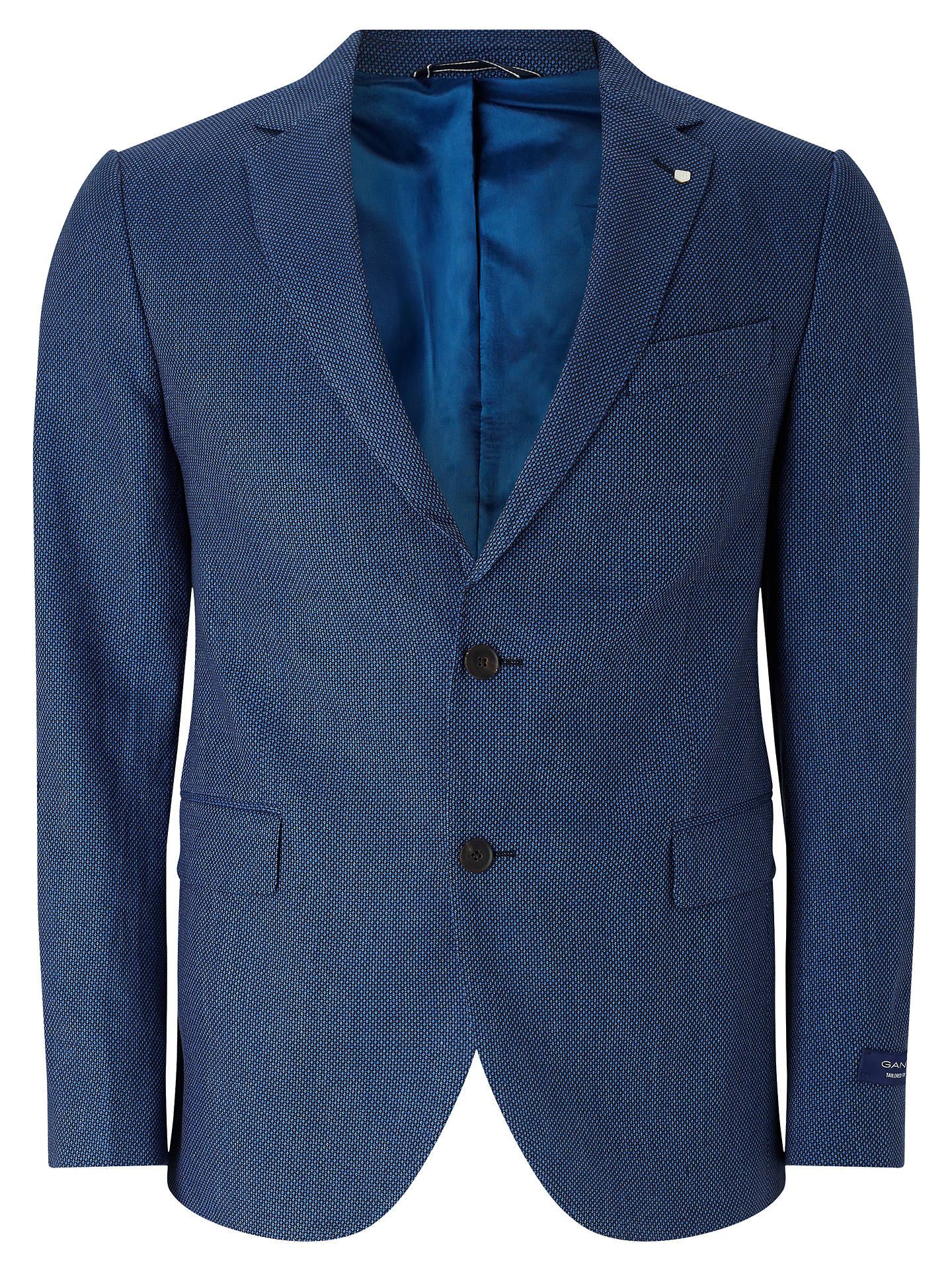 a205ef6107708 Gant Birdseye Linen-Blend Tailored Blazer, Navy at John Lewis & Partners