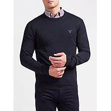 Buy Gant Lightweight Cotton Crew Neck Jumper, Navy Online at johnlewis.com