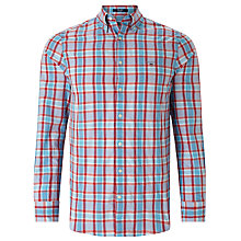 Buy Gant Tech Prep Dobby Plaid Shirt, Bright Red Online at johnlewis.com