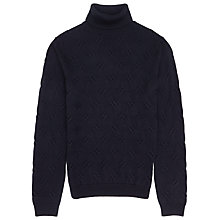 Buy Reiss Martian Pattern Roll Neck Jumper, Navy Online at johnlewis.com