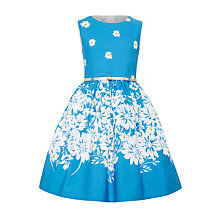 Buy John Lewis Girls' Border Floral Prom Dress, Blue Online at johnlewis.com