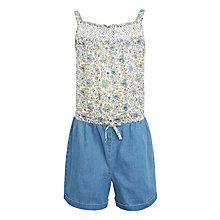 Buy John Lewis Girls' Ditsy Woven Playsuit, Cream/Blue Online at johnlewis.com