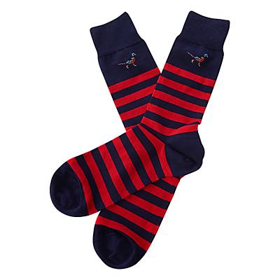 Barbour Macrath Stripe Socks, Navy/Red