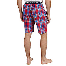 Buy Polo Ralph Lauren Check Woven Cotton Lounge Shorts, Red/Navy Online at johnlewis.com