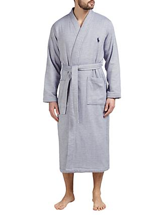 Polo Ralph Lauren Herringbone Cotton Robe, Navy