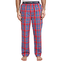 Buy Polo Ralph Lauren Woven Cotton Check Lounge Pants, Red Online at johnlewis.com